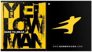 typographic design by Andreas Engel for YellowMan tattoo apparel hang tag.