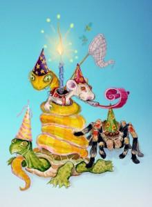 Animal birthday illustration by Andreas Engel