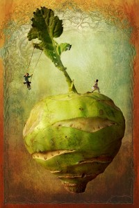 """Creative photo composition by Andreas Engel. """"Vegescape"""" - children playing atop a vegetable."""