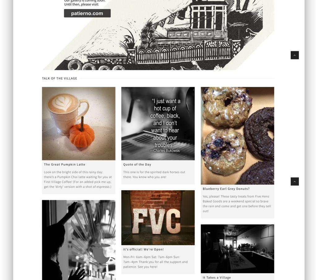 First Village Coffee Website design